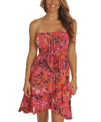 Santiki Dreamy Pink Floral Smocked Destiny Strapless Dress