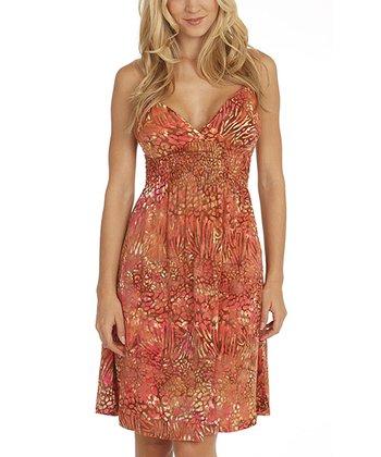 Santiki Pink Animal Smocked Lexie Sleeveless Dress