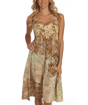 Santiki Dreamy Brown & Green Payton Midi Dress