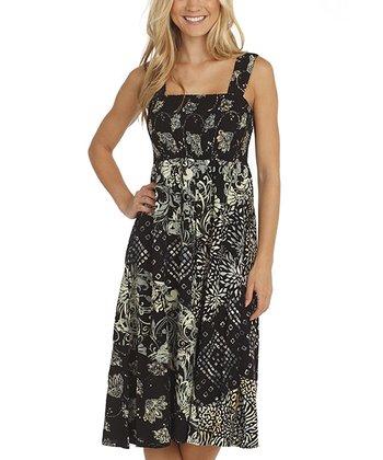 Santiki Black Dot Payton Midi Dress