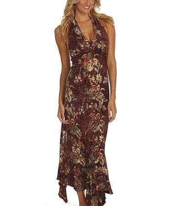 Santiki Magenta Floral Bouquet Jasmine Halter Maxi Dress
