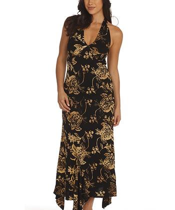Santiki Black Floral Bouquet Jasmine Halter Maxi Dress