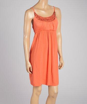 Santiki Dark Coral Beaded Jayla Sleeveless Dress