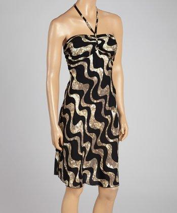 Santiki Black Wave Harper Halter Dress