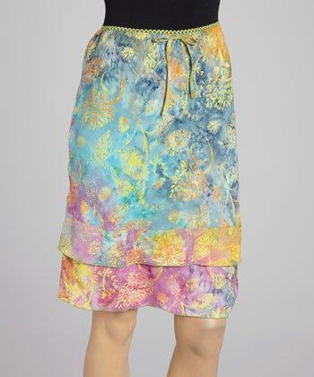 Santiki Pink Floral Ruffle Skirt