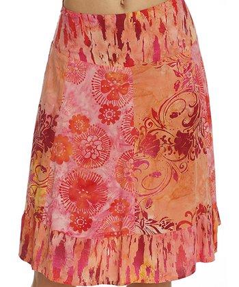 Santiki Pink & Orange Burst Mel A-Line Skirt