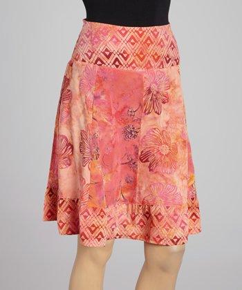Santiki Bright Pink Floral A-Line Skirt