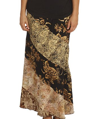 Santiki Black Floral Bouquet Adalyn Maxi Skirt