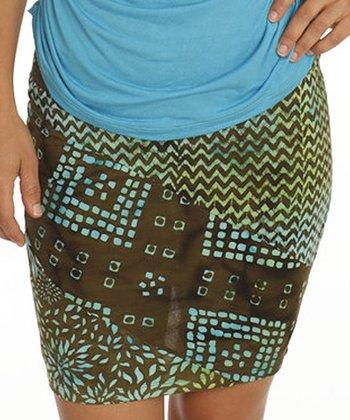 Santiki Brown & Blue Geo Malia Miniskirt