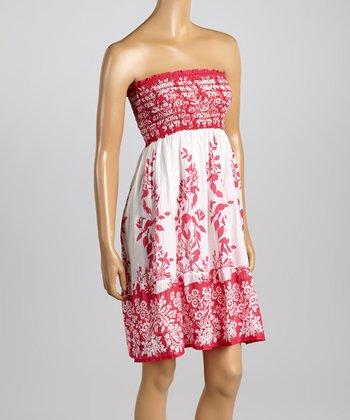 Raviya Pink Floral Smocked Strapless Dress