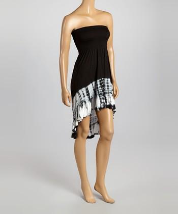 Raviya Black Tie-Dye Hi-Low Strapless Dress