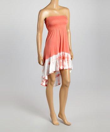 Raviya Coral Tie-Dye Hi-Low Strapless Dress