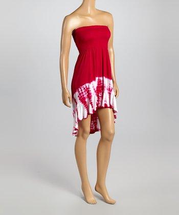 Raviya Hot Pink Tie-Dye Hi-Low Strapless Dress