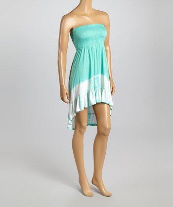 Raviya Seafoam Tie-Dye Hi-Low Strapless Dress