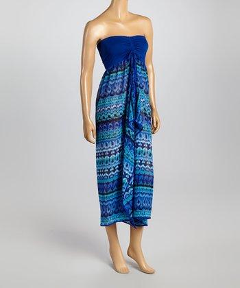 Raviya Blue Ikat Strapless Dress