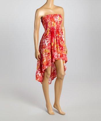 Raviya Coral Floral Ruched Strapless Hi-Low Dress