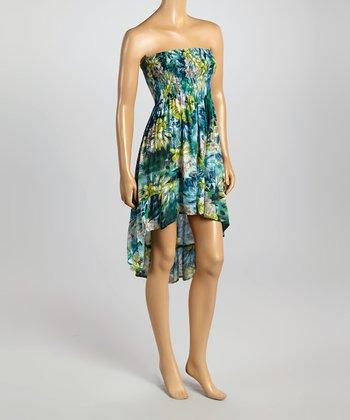 Raviya Blue Floral Ruched Strapless Hi-Low Dress
