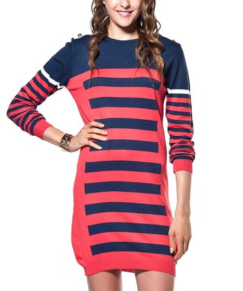 Navy & Red Stripe Wool-Blend Sweater Tunic