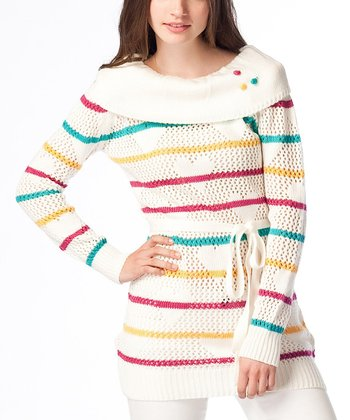 Cream Stripe Wool-Blend Sweater Tunic