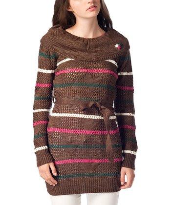 Brown Stripe Wool-Blend Sweater Tunic
