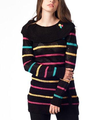 Black Stripe Wool-Blend Sweater Tunic