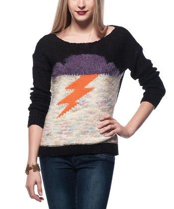 Black Lightning Bolt Wool-Blend Sweater