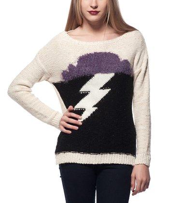 Beige Lightning Bolt Wool-Blend Sweater