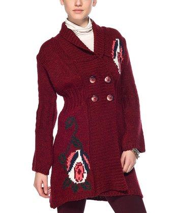 Claret Red Flower Wool-Blend Duster
