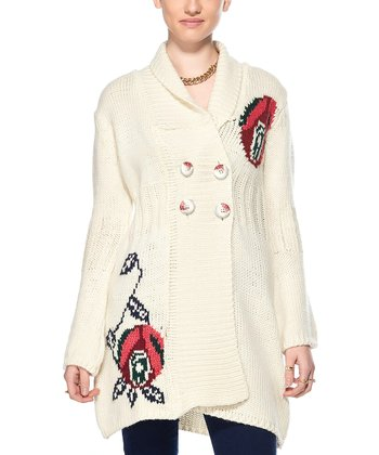 Cream Flower Wool-Blend Duster