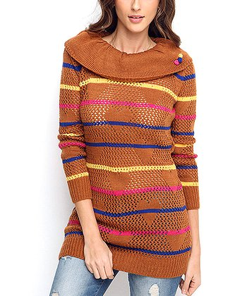 Mustard Stripe Wool-Blend Sweater Tunic