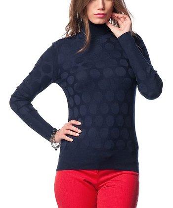 Navy Wool-Blend Turtleneck Sweater