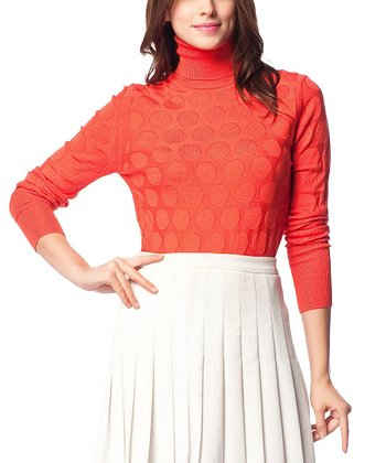 Orange Wool-Blend Turtleneck Sweater