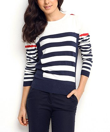 Navy & White Stripe Wool-Blend Crewneck Sweater