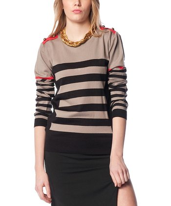Vizon & Black Stripe Wool-Blend Crewneck Sweater