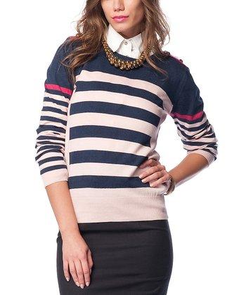 Navy & Pink Stripe Wool-Blend Crewneck Sweater