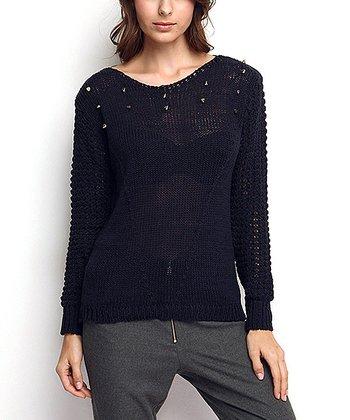 Navy Dorsal Decolette Wool-Blend Sweater