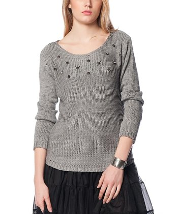 Gray Embellished Wool-Blend Sweater
