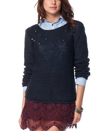Navy Embellished Wool-Blend Sweater