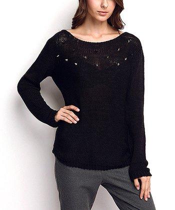 Black Embellished Wool-Blend Sweater