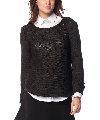 Smoked Embellished Wool-Blend Sweater