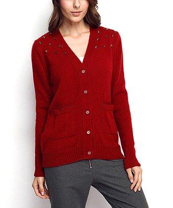 Claret Red Embellished Wool-Blend Cardigan