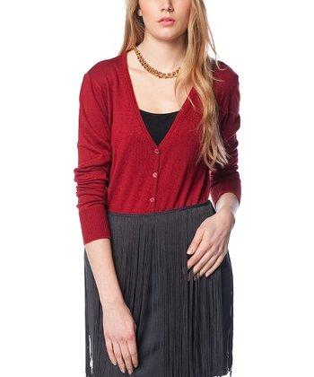 Claret Red Wool-Blend Cardigan