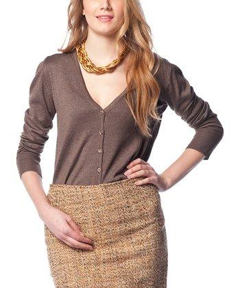 Brown Wool-Blend Cardigan