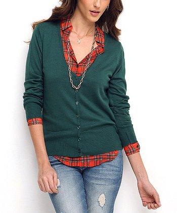 Green Wool-Blend Cardigan