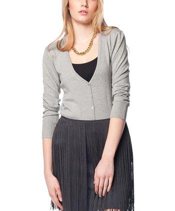 Gray Wool-Blend Cardigan