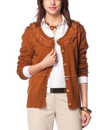 Terra-Cotta Scallop-Trim Wool-Blend Cardigan
