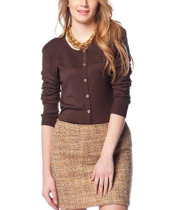 Brown Ribbed Funnel Wool-Blend Cardigan