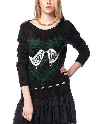 Black Lovebirds Wool-Blend Sweater