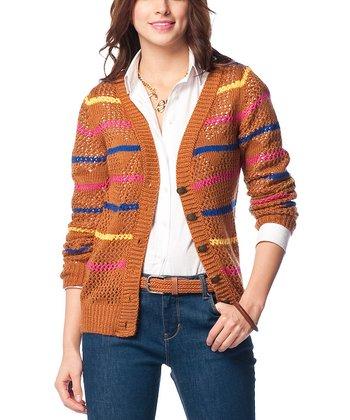 Terra-Cotta Stripe Wool-Blend Cardigan