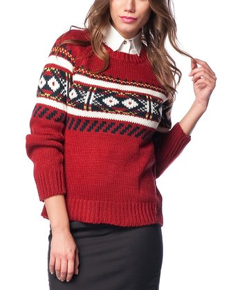 Claret Red & White Wool-Blend Sweater
